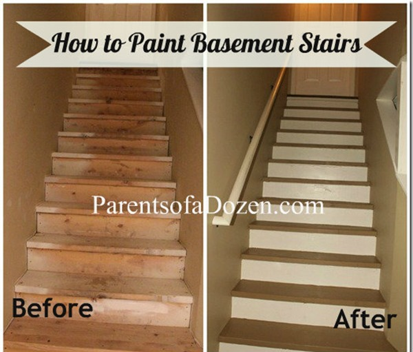 Painted Basement Stairs Ideas: Parents Of A Dozen: How To Refinish Basement Stairs