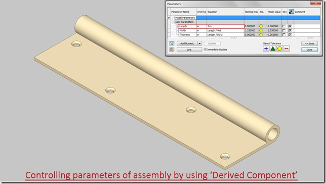Controlling parameters of assembly by using--Derived Component