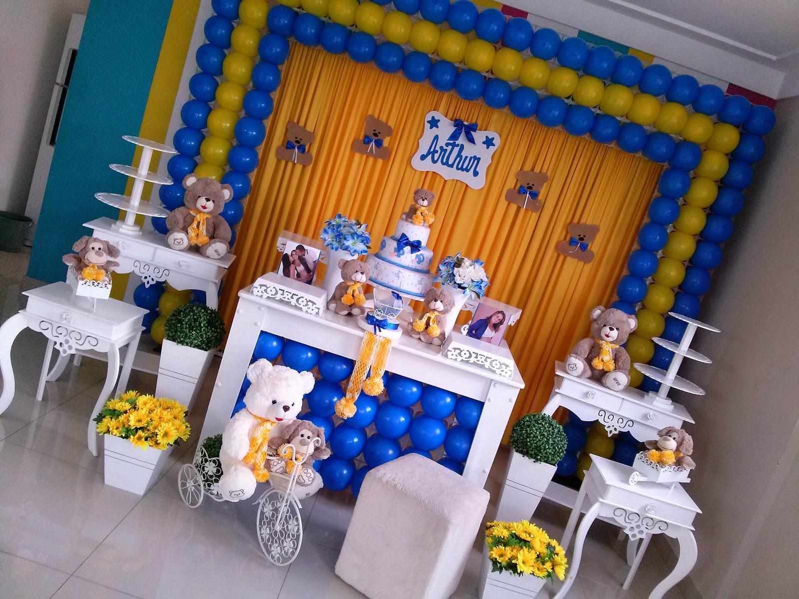 decoracao azul e amarelo para aniversario:Chá de bebê azul c/amarelo – CIFESTA DECORAÇÕES