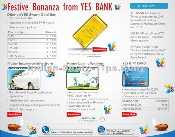 Festive Bonanza offers from Yes Bank