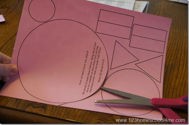 cut out the shapes in this shape pig craft