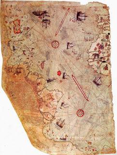 часть карты турецкого адмирала пири рейса с очертаниями берегов антарктиды