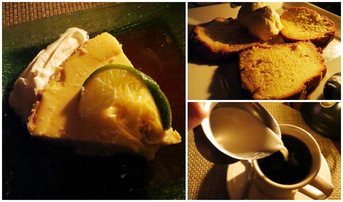 key lime pie. banana rum cake. coffee