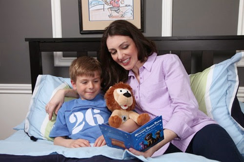 mother-and-son-reading-with-lion