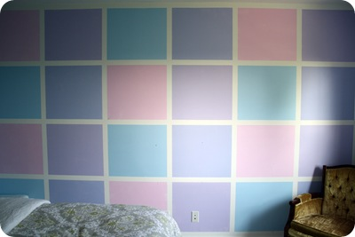 checkered wall with paint