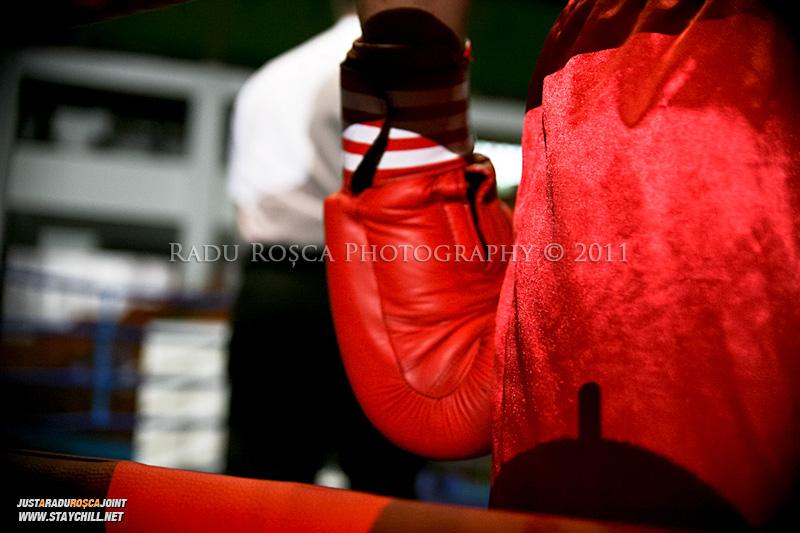 Un pugilist in timpul Campionatului National de Box ce se desfasoara in Sala Sporturilor din Targu Mures in perioada 27 iunie - 2 iulie 2011