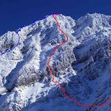 青ラインが今回登ったショルダーリッジ左。 赤ラインがショルダーリッジ右。