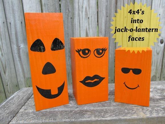4x4 wooden Jack-o-Lanterns