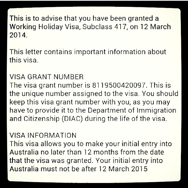 working holiday visa grant