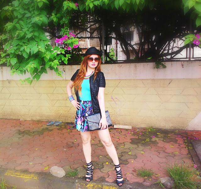 Leaf Print Skater Skirt & Leather Jacket