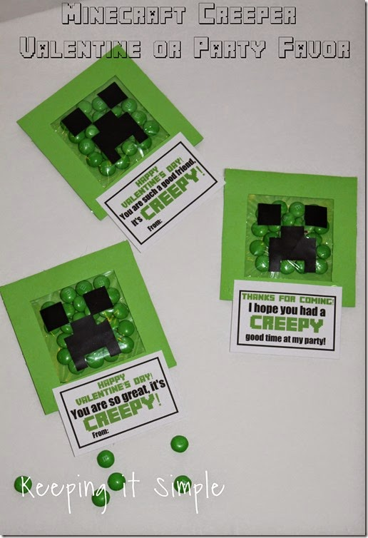 Minecraft Creeper DIY Valentine and Party Favor