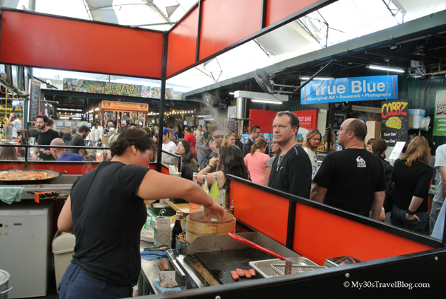 Cooking Paella at the busy Fremantle Markets