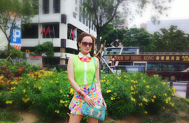 Neon Shirt, Floral Skirt, Plastic Neckpiece, Guess Bag