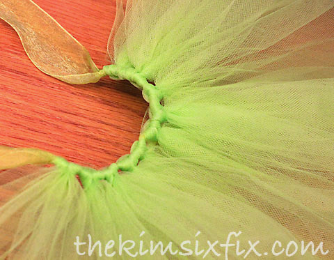 Tying tulle on tutu
