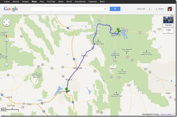 Map to Pocatello, Idaho from Yellowstone National Park