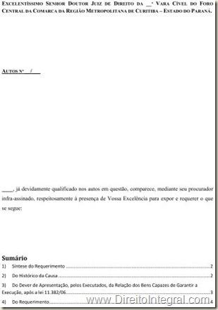 Modelo De Petição Requerimento De Intimação Do Executado