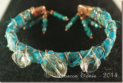 boho copper n crystal bracelet