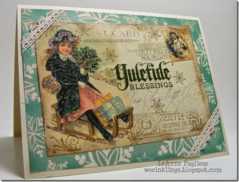 LeAnne Pugliese WeeInklings Merry Monday 120 Vintage Postcard Christmas