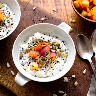 Yogurt With Mixed Seeds, Toasted Oatmeal and Ginger Syrup