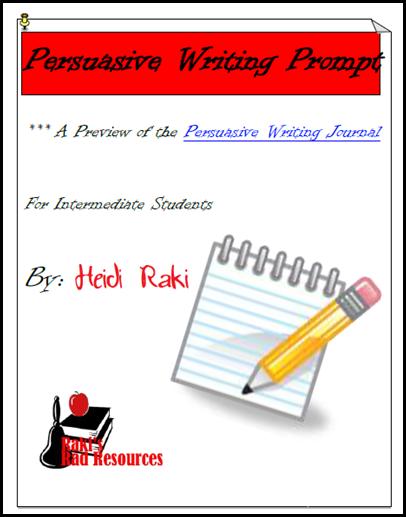 Persuasive writing prompt - free download from Raki's Rad Resources.