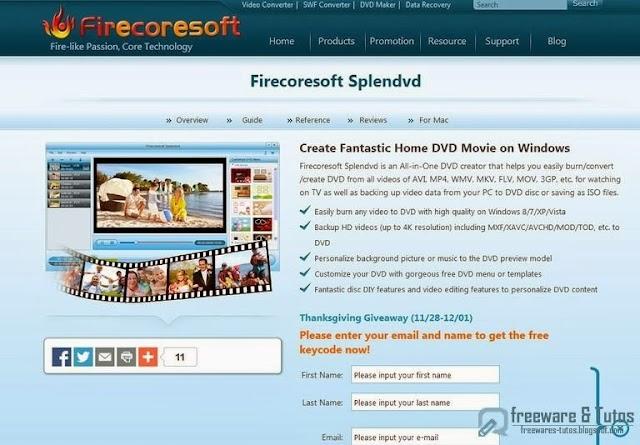 Offre promotionnelle : Firecoresoft Splendvd gratuit !