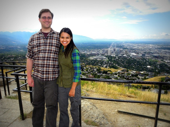 Taylor, Brooke, and the view from Ensign Peak in SLC