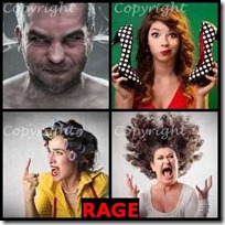 RAGE- 4 Pics 1 Word Answers 3 Letters