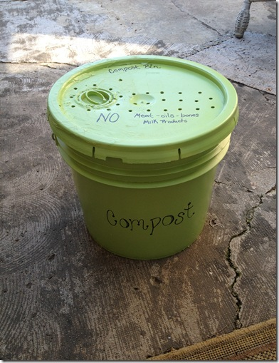 A compost bucket is a great temporary storage for scrap food. This bucket can be kept under the sink or in the garage.