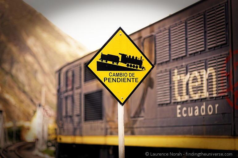 Steep train tracks warning sign devils nose nariz diablo Ecuador