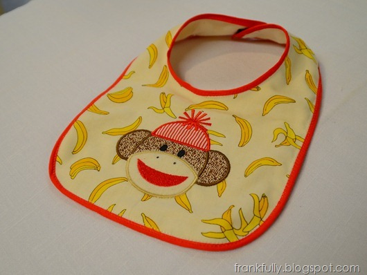 sock monkey and bananas bib