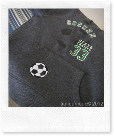 iron on soccer ball, frugal hoody