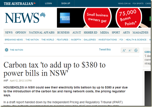 Carbon tax 'to add up to $380 to power bills in NSW' - The Australian