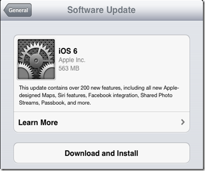 Information Technologies: iOS 6 upgrade on iPad 2