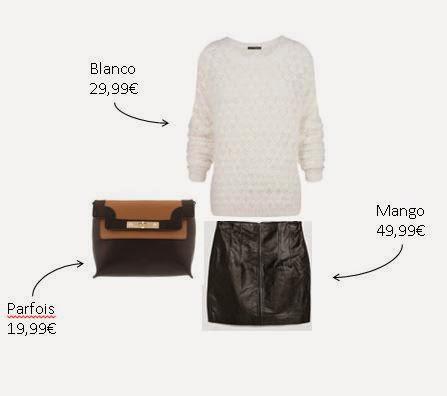Saia pele preta da mango, camisola pêlo branca da Blanco e clutch castanha e preta da Parfois