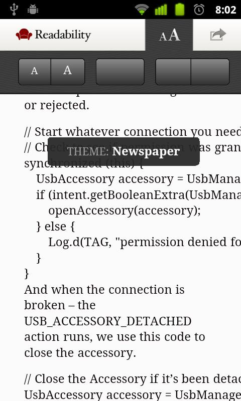 Readability Bookmarklet- screenshot