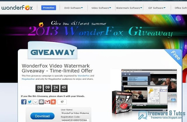Offre promotionnelle : WonderFox Video Watermark gratuit !