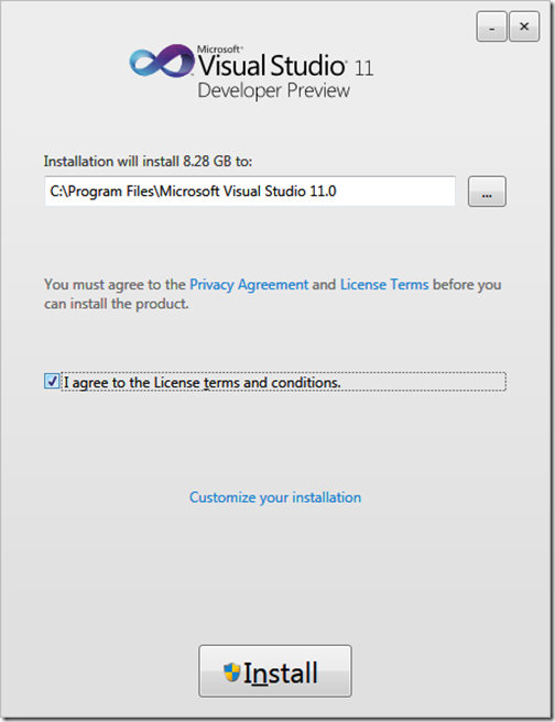 Installation of Visual Studio 11 Developer Preview
