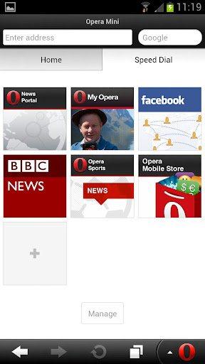 Opera mini 7.5 Android