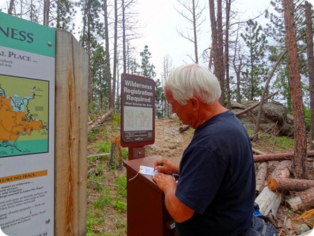 Paul registering at Black Elk Wilderness.