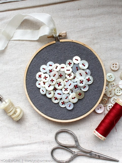 Vintage Button Heart via homework | carolynshomework.com