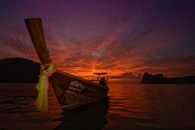 Thai boat sunset beach sky