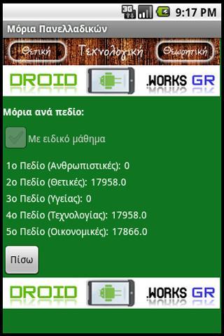 Μόρια Πανελλαδικών - screenshot