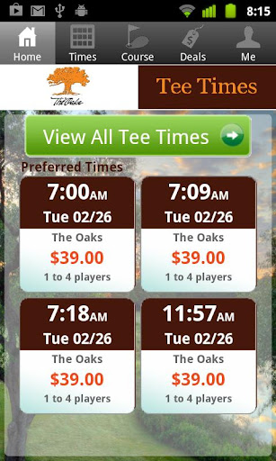 The Oaks Golf Tee Times
