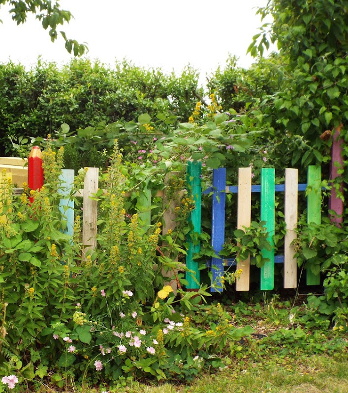 a bright and colourful fence