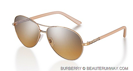 Burberry Nude Rosie Huntington Whitley Burberry Eyewear Collection Classic aviator sunglasses  elegant rose gold coloured frames