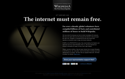 Wikipedia SOPA Blackout Design