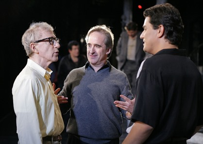 Saimir Pirgu (right) in rehearsal for Puccini's GIANNI SCHICCHI at Los Angeles Opera, with director Woody Allen (left) and conductor James Conlon (center) [Photo by Robert Millard; used with permission]
