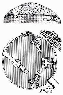 план и разрез тумулуса II в Черветери с гробницей Хижины, этрусская культура