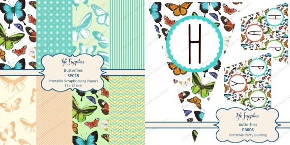 2013Feb22 printable butterflies scrapbooking paper and bunting