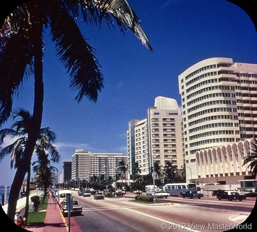 View-Master Miami and Miami Beach (A963), Scene 19: Resort hotels line Collins Avenue for 100 blocks, Miami Beach